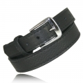 "1.25"" Black Full Grain Bison Leather Snap Off Buckle"