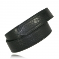 "1.5"" Black Full Grain Bison Leather Hook & Loop Tipped"