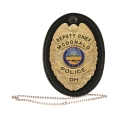 Oval Badge Holder, Hook and Loop Closure with Chain