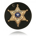 "3.75"" Circle Recessed Badge Holder with Clip and Neck Chain"
