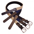 1-1/4 Leather Tipped Cotton Web Belt, Black