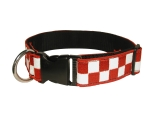 "1 1/2"" Decorative Embroidered Collar, Red/White"