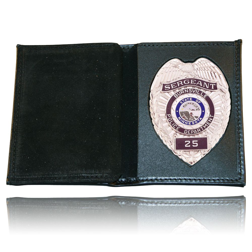 Book Style Badge Wallet, Vertical Card Slots, Soft