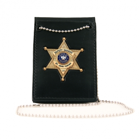 Deluxe Neck Chain ID Holder with Recessed Badge, Fold Style with Pockets