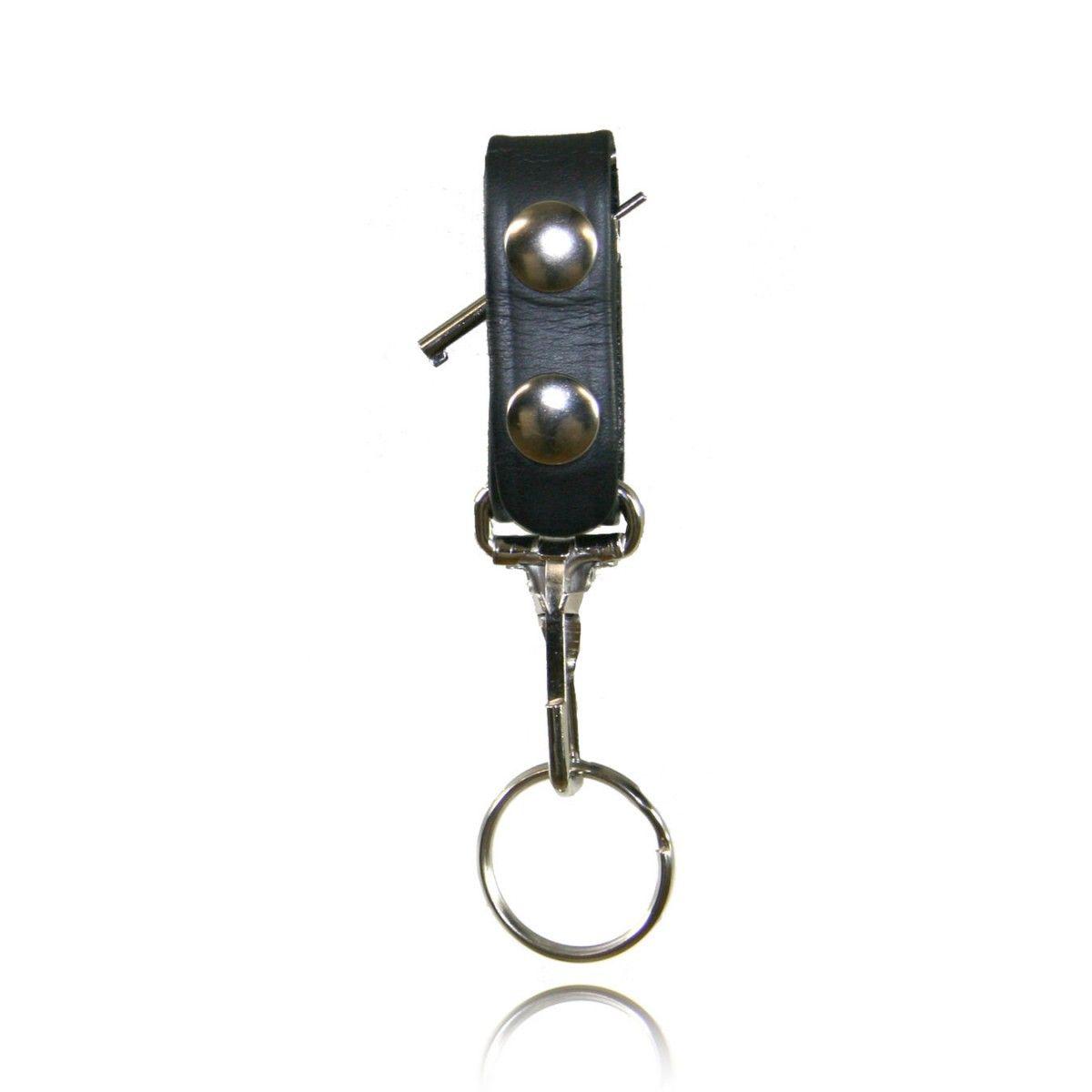 Boston Leather 5436-3-B Black Belt Keeper w//Deluxe Swivel Key Ring Combo
