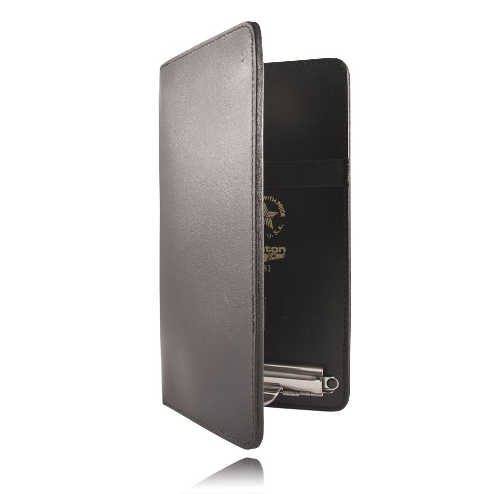 BLACK LEATHER DOUBLE CITATION BOOK WITH 2 CLIPS