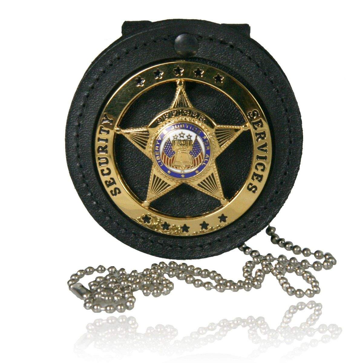 "3"" Circle Recessed Badge Holder with Clip and Neck Chain"