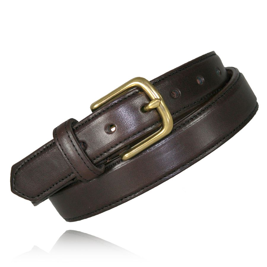 "1 1/4"" FEATHER EDGE DRESS BELT - BRN"
