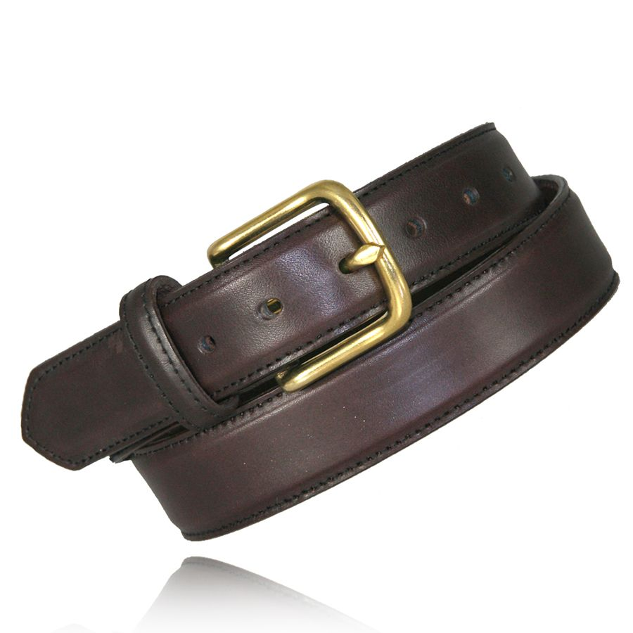 "1 1/2"" FEATHER EDGE DRESS BELT - BRN"