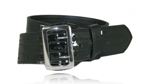 Sam Browne Duty Belt, Four-Row Stitched, Fully Hook and Loop Lined
