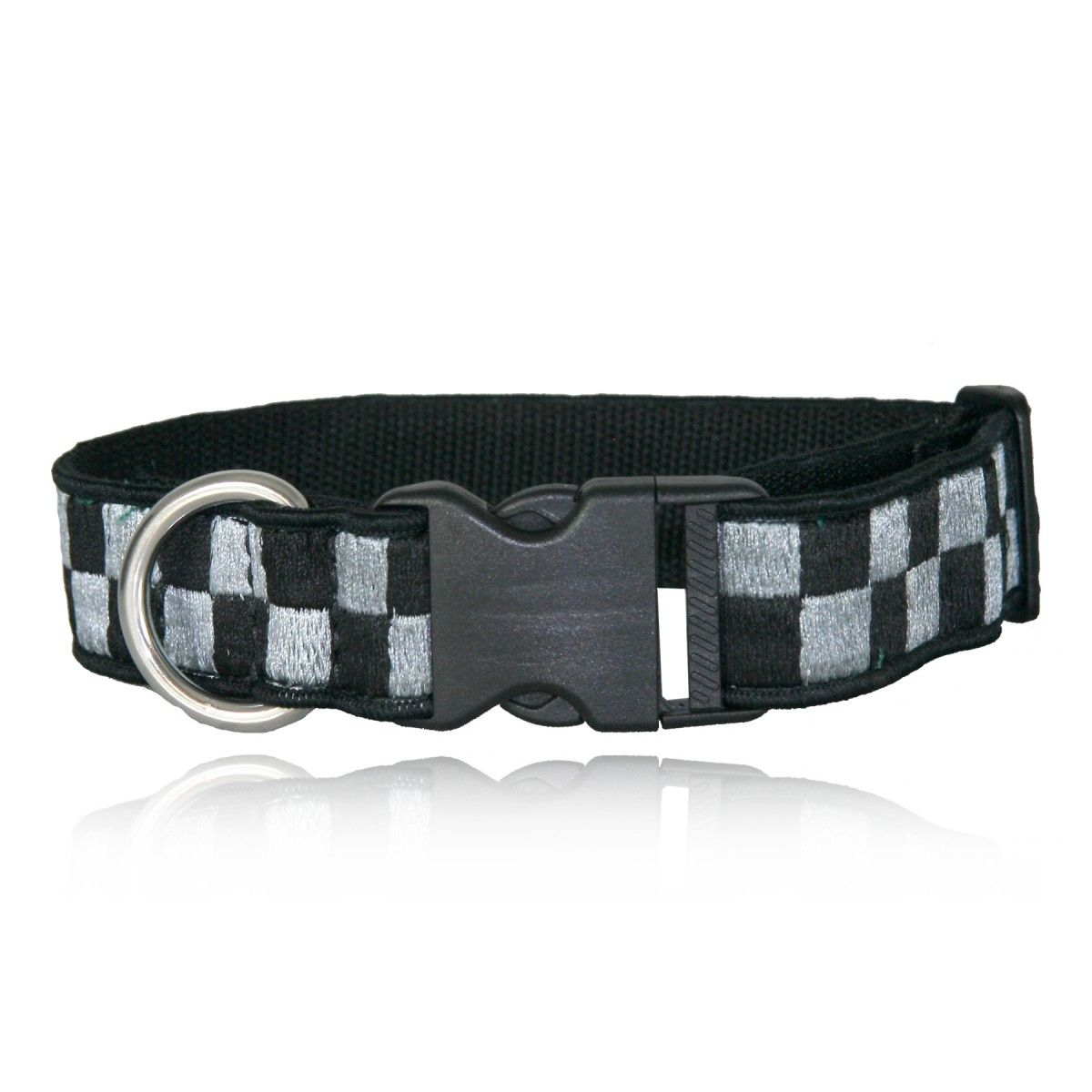 "1 1/2"" Decorative Embroidered Collar, Silver/Black"
