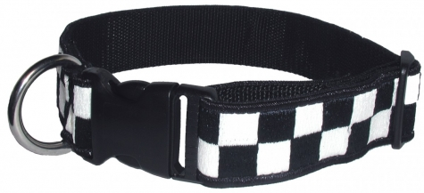 "1 1/2"" Decorative Embroidered Collar, Navy/White"