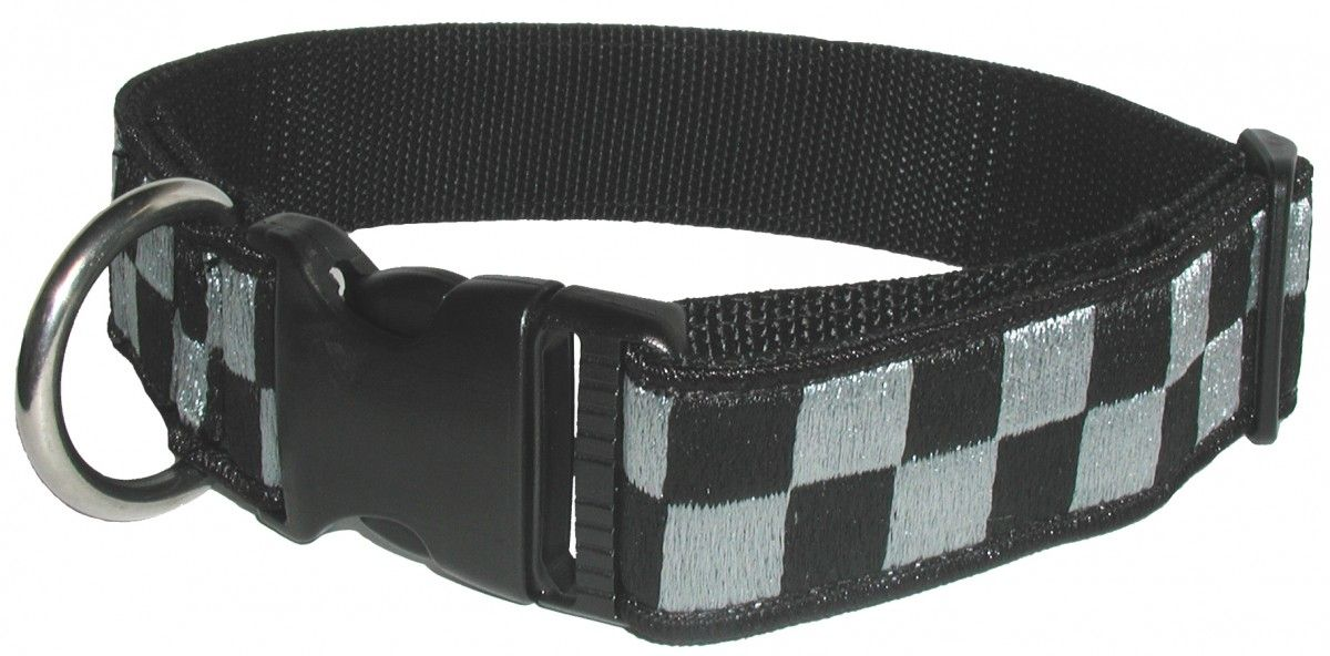 "1 1/2"" Subdued Embroidered Collar, Black/Gray"