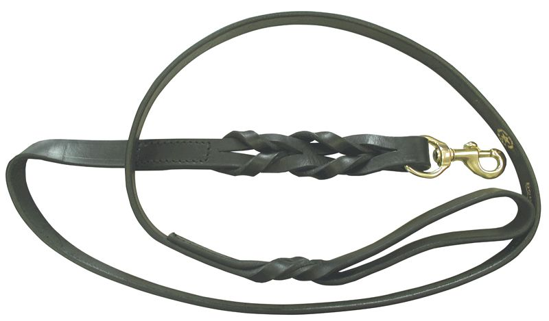 "60"" Braided Leather Lead, Black"