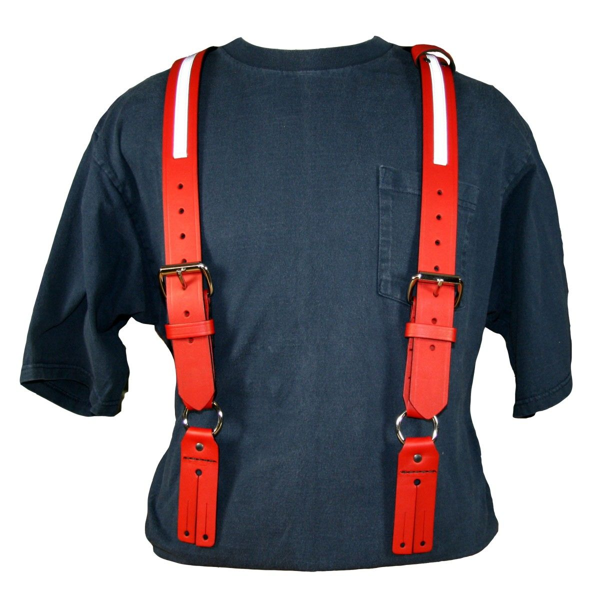 "Firefighter's Suspenders, Button Attachment, 1/2"" Reflective Ribbon"